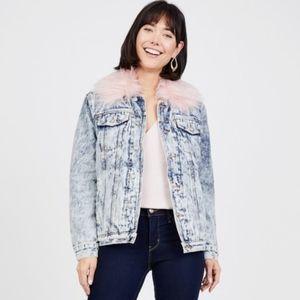 Juicy Couture Faux Fur Collar Denim Jacket, Sherpa